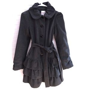 Candie's ruffle long trench coat grey Size S